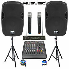 "Complete Professional 2000W PA System 6 CH Mixer 15"" Speakers Wireless Mics"