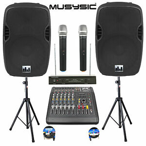 """Complete Professional 2000W PA System 6 CH Mixer 15"""" Speakers Wireless Mics"""