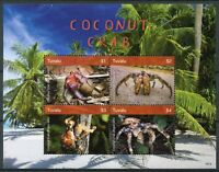 Tuvalu 2018 MNH Coconut Crab 4v M/S Palm Trees Crabs Crustaceans Marine Stamps