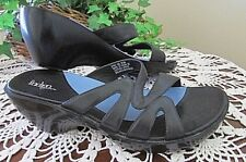 Indigo by Clarks Black Leather Wedge Slides Sandals Shoes Women's Size 8M