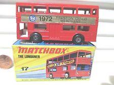 "Lesney Matchbox MB17B ""THE LONDONER"" 1972 RED PRESTON GUILD MERCHANT Bus MintBx"