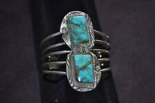 Handmade 5 Band Sterling Silver  and Turquoise 2 Stone Bracelet