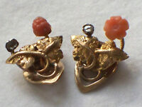 PAIR ANTIQUE 15CT GOLD CORAL DIAMOND ACORN FLOWER LEAF DESIGN EARRINGS
