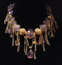 100% natural amethyst statement necklace