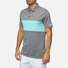 NIKE BREATHE COLOR BLOCK POLO GOLF SHIRT MENS SMALL 833067-092 GRAY & LITE BLUE