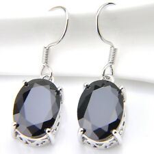 Best Seller  Handmade Oval Shaped Woman Black Onyx Gemstone Dangle Hook Earrings