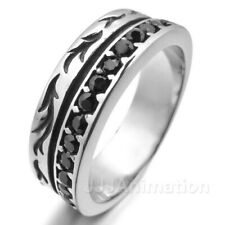 Stainless Steel Ring Band CZ Silver Black Embossed Vintage