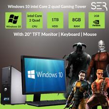 "Windows 10 Dell Core 2 Quad Gaming PC Computer - 8GB RAM - 1000GB - 20"" TFT"