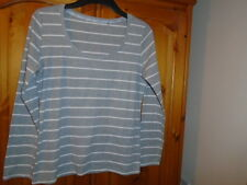 Grey and white stripe long sleeve scoop neck top, GEORGE (MODA Range), size 12