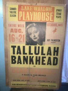 """LAKE WHALOM PLAYHOUSE POSTER -Tallulah Bankhead- in """"Dear Charles"""" Comedy Rare!"""
