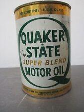 Vintage Old Quaker State Super Blend Quart Full Motor Oil SAE 10W-20W-30 HD Can