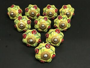 YELLOW, RED & GREEN PORCELAIN CABINET KNOBS W/ BRASS HARDWARE (NEW) SET OF 10