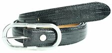 New Womens 25mm Wide Lizard Print Silver Buckle Premium Leather Belts