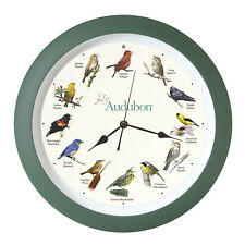 Audubon Society Singing Bird Wall Sound Clock, 13 Inch, Green
