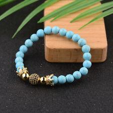 Fashion Zircon Balls Double Crown Bangle Tiger Eye Turquoise Stone Bracelets