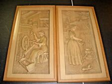 """Vintage lot of 3D pictures lady spinning wool, lady tending fire 8"""" X 15"""""""