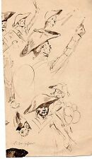 ESQUISSE ENCRE SCENE COIFFE MILITAIRE 1870 SIGNE Emile CHEPFER
