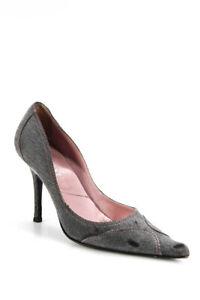 Dior Womens Slip On Denim Stiletto Pointed Toe Pumps Gray Size 39 9