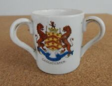 Crested Ware China 3 Handled Cup Gloucester Crest 4.5 cm's dia 5 cm tall