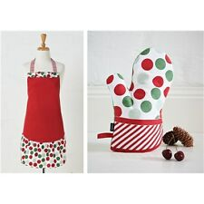 Ladelle red, white and green spots and dots apron and oven mitt set
