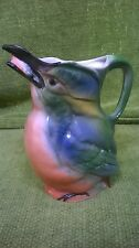 Vintage German Earthenware Jug kingfisher with fish 12.5 cm high approximately