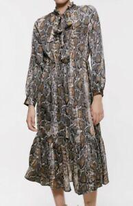 Zara Snakeskin Print Silky Fabric Fashion Bloggers Midi Dress Size M