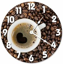 "COFFEE CUP HEART Shape Clock - Large 10.5"" Wall Clock - 2070"
