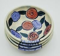 4 Overholser Pottery Cereal Bowls Wheel Thrown Hand Painted Studio Art Carnation