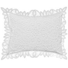 """Pure Cotton 11"""" X 15"""" White Boudoir Sham Pillow with Battenberg Lace"""