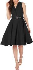 Polyester Patternless Retro Dresses for Women