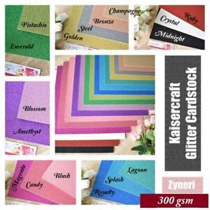 Kaisercraft Glitter Cardstock 9 Assorted Colours 300gsm 31x30cm