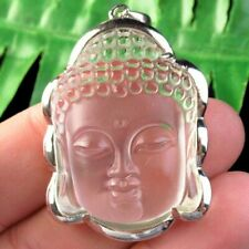 Wrapped Silver Carved White Crystal Kwan-yin Pendant Bead Q39471