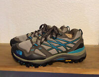 Women's THE NORTH FACE Brown Blue Vibram Sz 7 Leather Trail Hiking Shoes Boots
