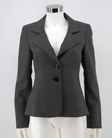 Classiques Entier Wool Blazer Sz 4 Black Stretch Structured Career Jacket Womens