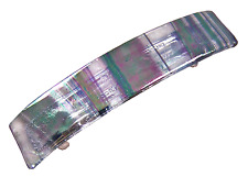 "Hair BARRETTE Fused Stained GLASS 3.5"" 9cm Iridescent Black White Zebra Striped"