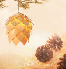 Nordic Style Pine Cone Shape Pendant Wood Haning Lamp Chandelier Dec Light 40cm