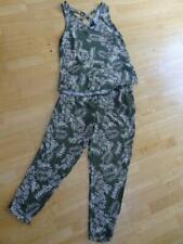 NEW LOOK ladies green leaf print 2 piece co ord set trousers & top set UK 14