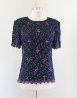 Vtg Stenay Black Blue Pink Floral Silk Beaded Sequin Evening Top Blouse Size M