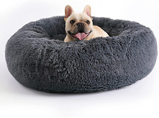 C4P Dog Bed Calming Donut Cuddler, Long Plush Comfortable Pet Bed for Small Medi