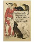 And God Said Dogs And Cats Animal Vintage Print, Wall Decor Poster Unframed