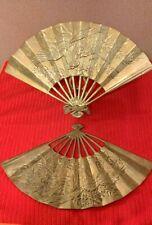 2 Vintage Solid Brass Oriental Style Hand Fan Raised Phoenix Dragon Wall Decor
