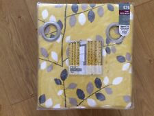 "Next Ochre Graphic Leaf Eyelet Lined Curtains 90x90"" (228x229cm) - BNIP"