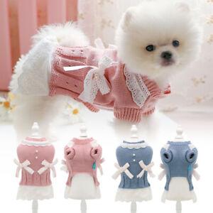 Dog Sweater Pet Cat Puppy Princess Dress Winter Warm Coat Classic Knit Clothes