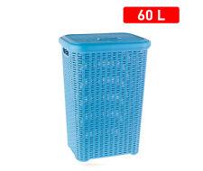 Panier de Vêtements Pongotodo avec Couvercle 60 Litres Panier Osier Rotin Bleu