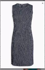 BNWT NEXT Navy White Ribbed Texture Shift Dress 12 Petite RRP £45