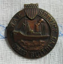 WW 1 War Service Ship Building Numbered Large Bronze Badge - Pin Back