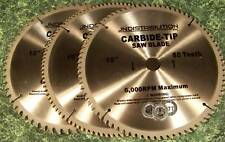 "3pc 10"" CARBIDE TIP SAW BLADE 60 80 100 Tooth NEW table circular blades adapters"