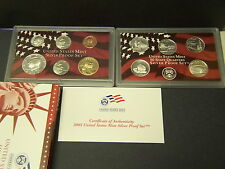 2005 Silver  proof set,complete , with boxes & coa
