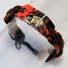 Real Leather Skull Pirate Wristband Bracelet - Adjustable, men's, women's