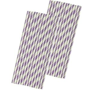 Lilac Lavender Stripe Paper Straws - 50 Pack - Outside the Box Papers